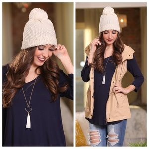 Spring chill ivory beanie